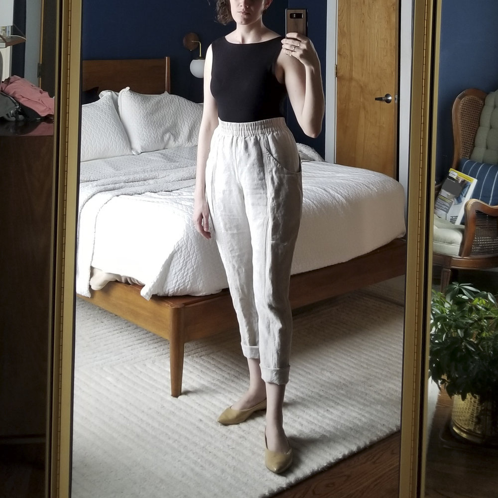 Saturday - April 14, 2018I just washed these linen clyde pants and really like how they fit here. They ended up stretching a bit by the end of the day so they weren't quite so fitted. For the most part I'm happy with the size 6-tall but wonder if I should have gone for the 4-tall to keep that tighter look. I just worry they'd be too tight...