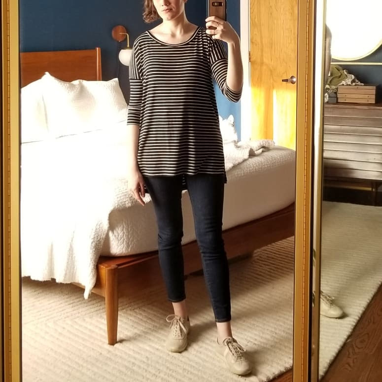 Friday - April 20, 2018This is another easy look. Love this stripe top over skinnies. Certain-dri continues to work well, although not quite as well as yesterday. It says it lasts for 72 hours, but I apply again tonight in an effort to stem further sweating.