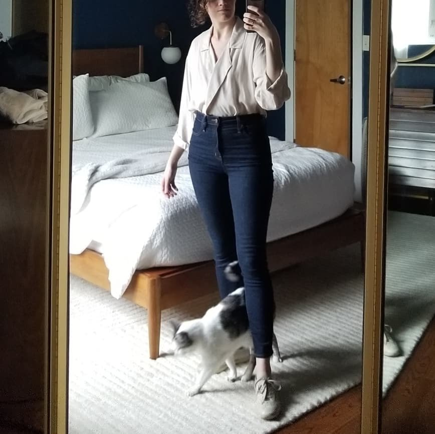 Wednesday - April 25, 2018Jesse Kamm newton blouse! Finally nice weather I can wear this tencel top in. It's sort of hard to style because it has so much character with the notched lapels and wide sleeves that I cuff twice. Here I've just tucked into hi rise skinny jeans, which is pretty fail-safe, and paired with beige sneakers and bare ankles.