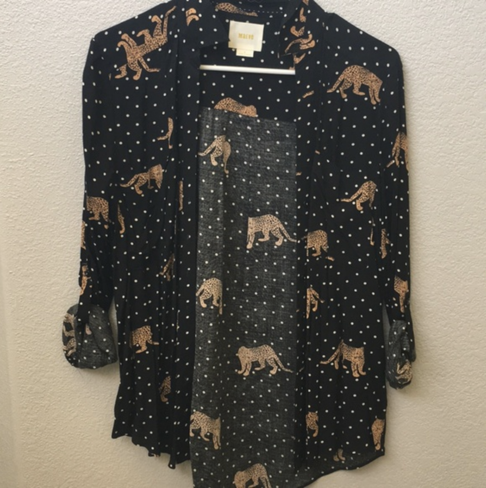 Maeve cheetah blouse - This falls under the more wearable category of cat print tops. The color scheme is muted and the cats are interspersed between classic polka dots. In some theoretical world I might wear this print but probably not in this blouse because the cut just isn't my style. You could totally tuck this into some black pants and look sharp though.