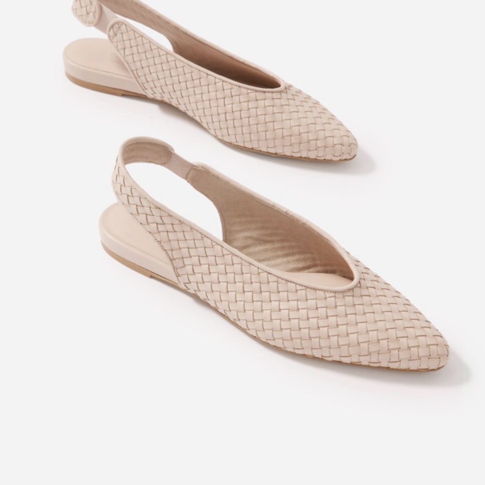 Everlane V Slingback in light tan woven.