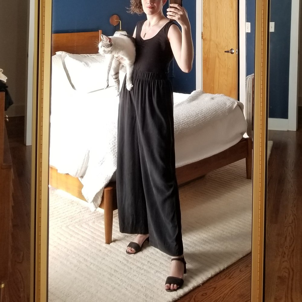 Tuesday - May 1, 2018Power outfit! These Elizabeth Suzann florence pants are great for pairing with black tops to give the look of a jumpsuit but with infinite variation. I have plenty of black tees and tanks and tops to tuck in here. In the winter I do the turtleneck, but it's basically switched straight to summer now so low back tank it is.