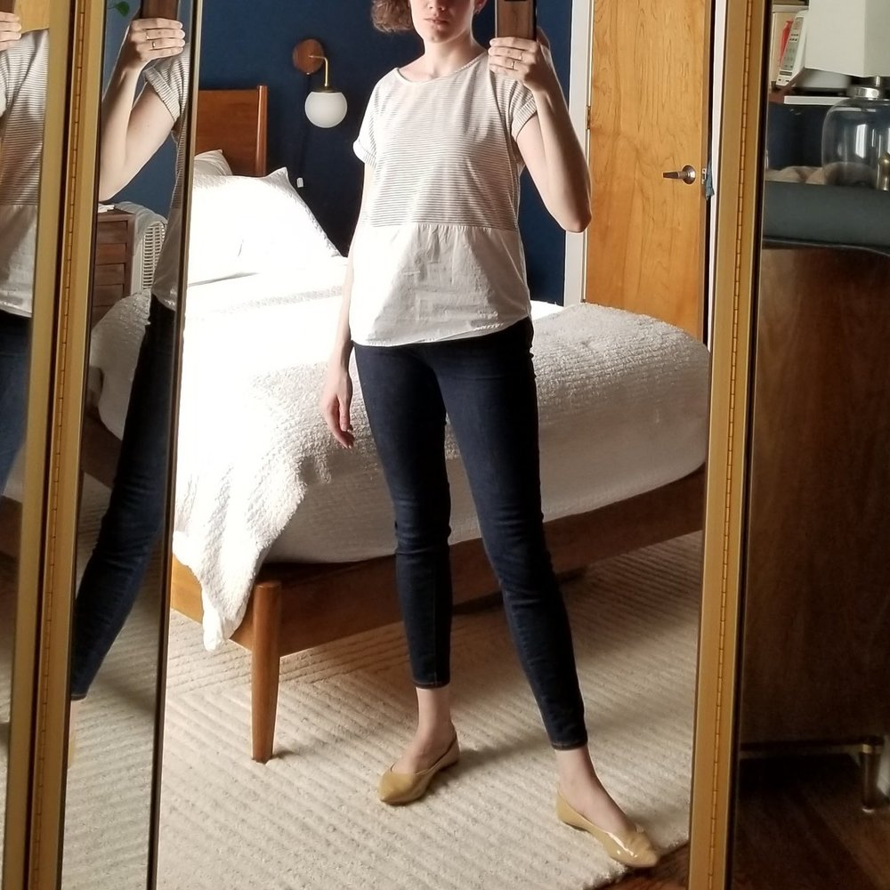 Monday - April 30, 2018First day back at work after a lovely beach weekend. Easy top, easy jeans, easy shoes. Nothing to see here.