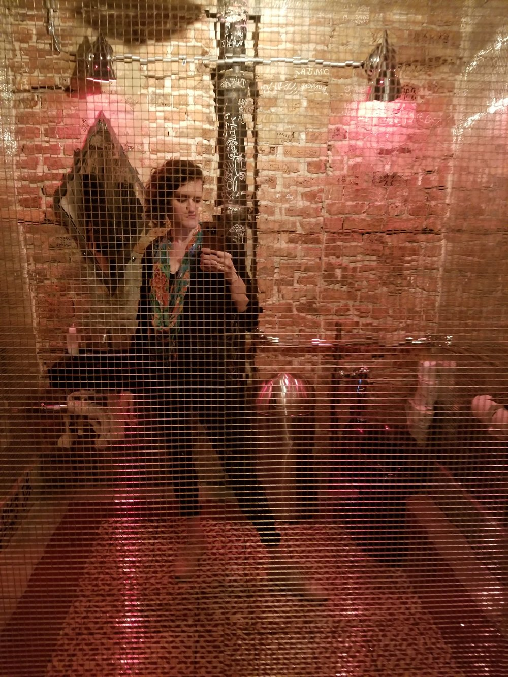 Bathroom selfie at Estereo. Almost the entire bathroom was covered in disco mirrors.