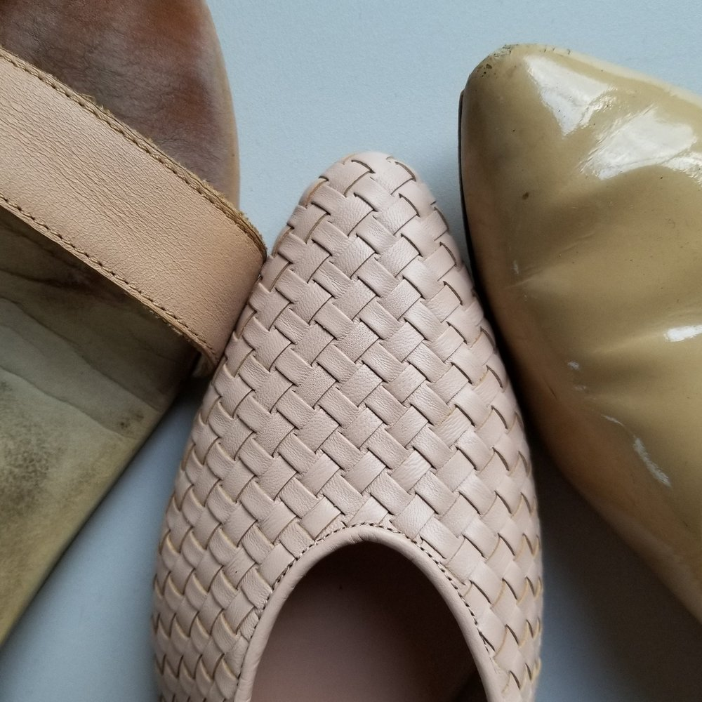 "L to R: Nisolo ""Pale Honey"" (which I consider a holy grail beige) // Everlane ""Light Tan"" (aka blush) // Trotters ""Nude"" (aka camel)"