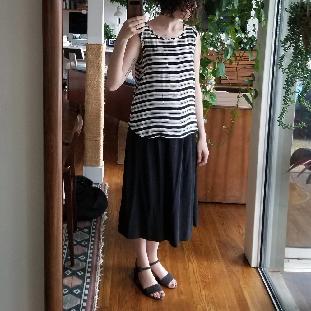 Wednesday - June 13, 2018Thought I'd try out the bel skirt with yet another striped top, haha. This one's fine! Still loving the boxier silhouette. If you're going for the drapey-over-drapey look, I think the key is finding a top that is fitted around the shoulders so it's not too overwhelming of a silhouette.