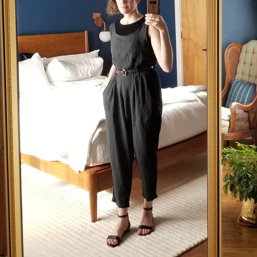 Friday - June 15, 2018Was feeling a little feisty today and donned my Black Crane jumpsuit for the first time this season. I layered my inky black tank top underneath to give a little more coverage for the office. It's easy for linen to look slouchy but the belt keeps everything perked up.