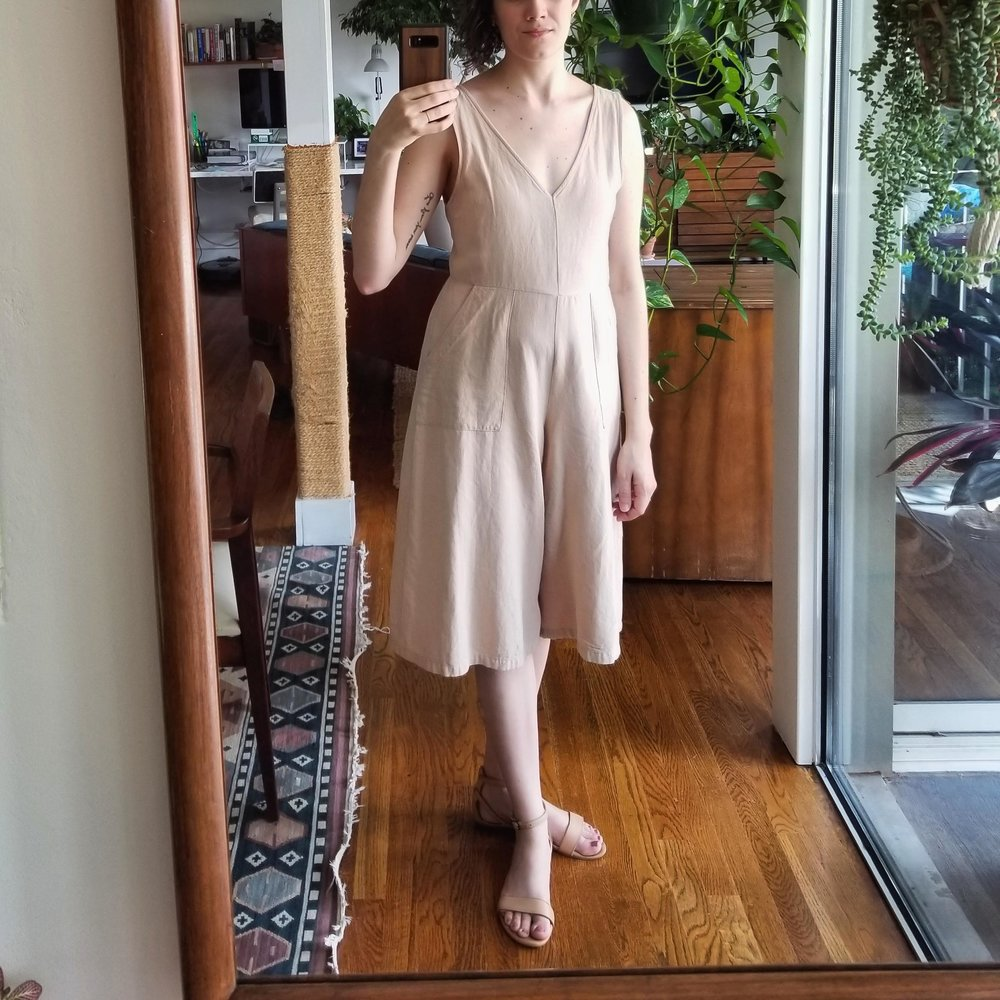 Sunday - June 17, 2018Good old beige jumpsuit. Love this thing. Love it even more paired with the beige sandals! I love a monochrome look.