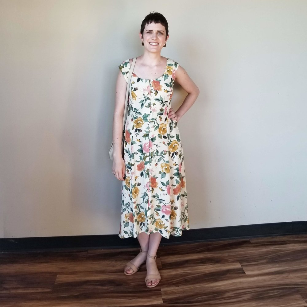 Saturday - July 7, 2018Vacation Day 8. Here it is, the altered dress I've been talking about for a month! It went from a church wedding ceremony to a reception in a cool warehouse-y space seamlessly. After all my talk about yellow sandals, I ended up doing nothing and just wearing my old Nisolo flat sandals. No one cared. They looked fine!