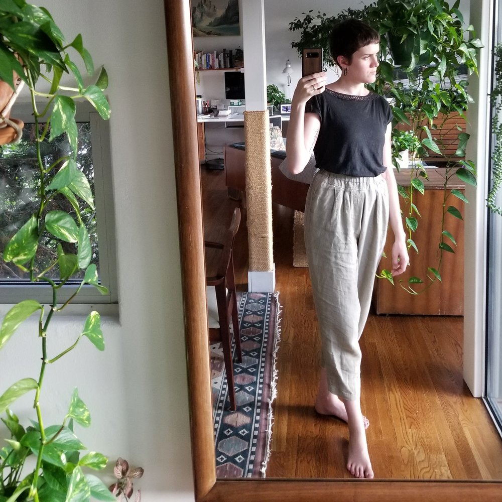 Wednesday - July 11, 2018Ah, my Black Crane carpenter pants. So good for lounging but acceptable for leaving the house as well. A real multi-purpose pant.