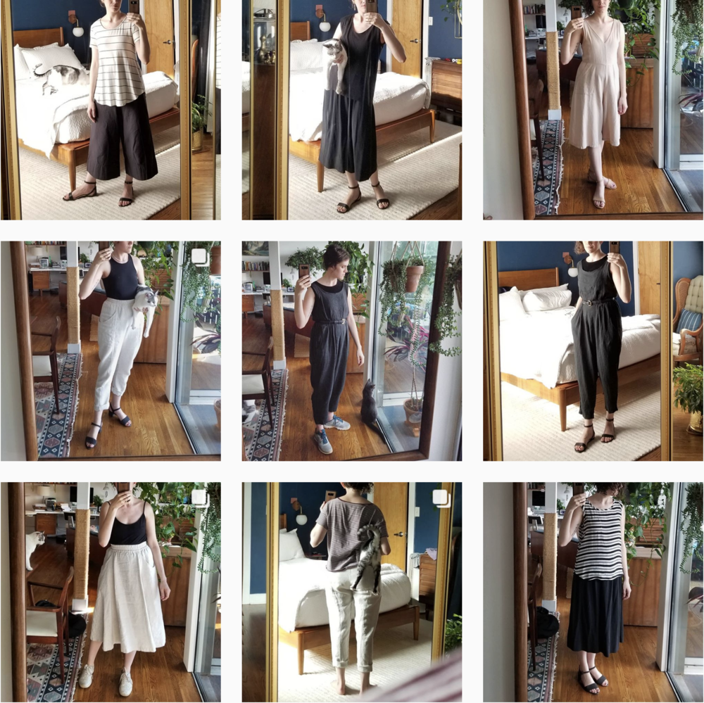 A sample of wardrobe neutralness over nine outfits.