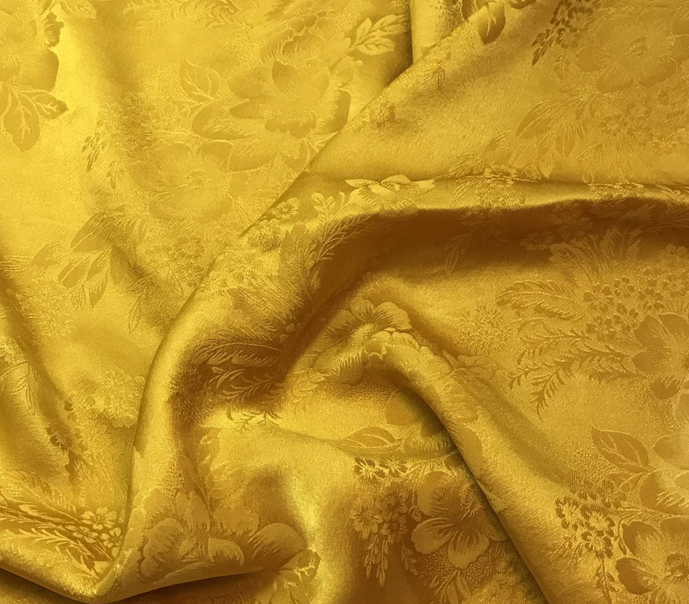 Hand-dyed yellow silk swatch from  Prism Silk Fabric .