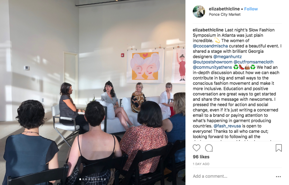 Here's the back of my head at the Atlanta Slow Fashion Symposium, second from L. Photo from  Elizabeth Cline .