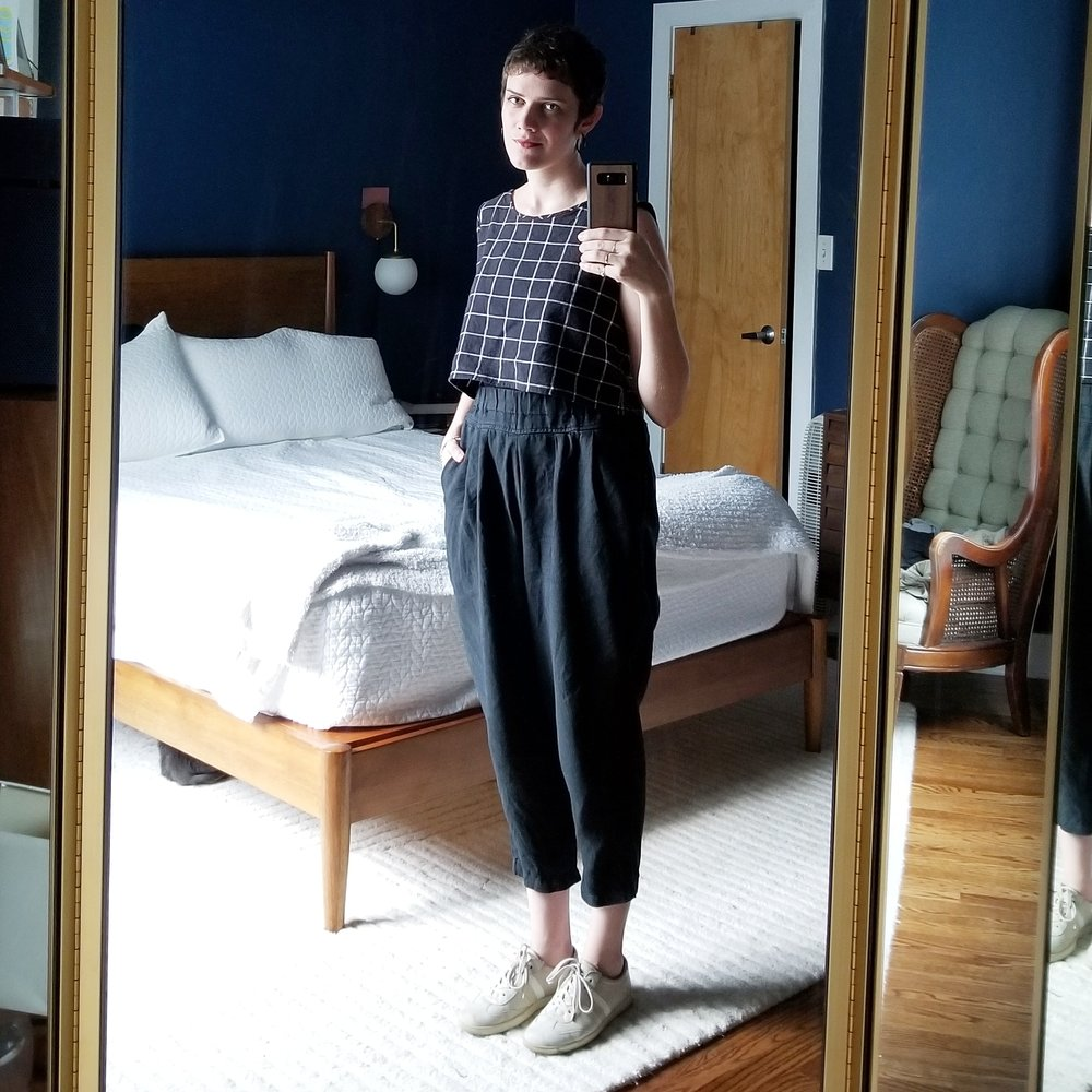 Tuesday - July 24, 2018Day two of Black Crane pants! Paired today with my me-made top. This top, made hastily the night before a 10-day vacation,has quickly made itself indispensable in my wardrobe. It's not perfect but I still love how it fits and wears! It is the perfect length to go with all my high-waisted stuff. A nice change from tucking everything in.