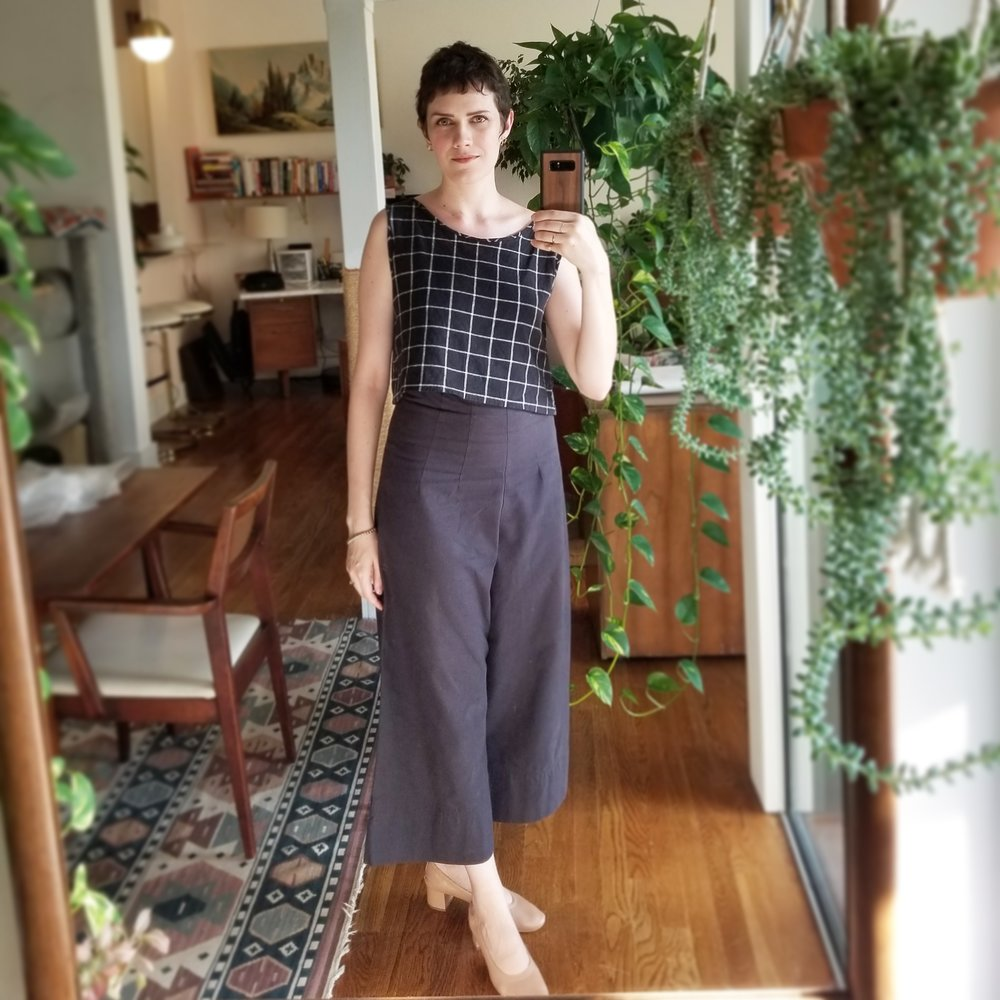 Saturday - July 28, 2018LOVE THIS LOOK. I saw my favorite band Beach House tonight, so I wanted to dress up, but also I didn't want to look like I was dressed up. No one wants to look like they're trying to hard! I felt amazing in this. Caron Callahan pants again and me-made top with my rose tan Everlane day heels. The heels I wear rarely because the leather is really kind of delicate. But when I want to feel fancy they are perfect. Gives just a little elevation to any look.