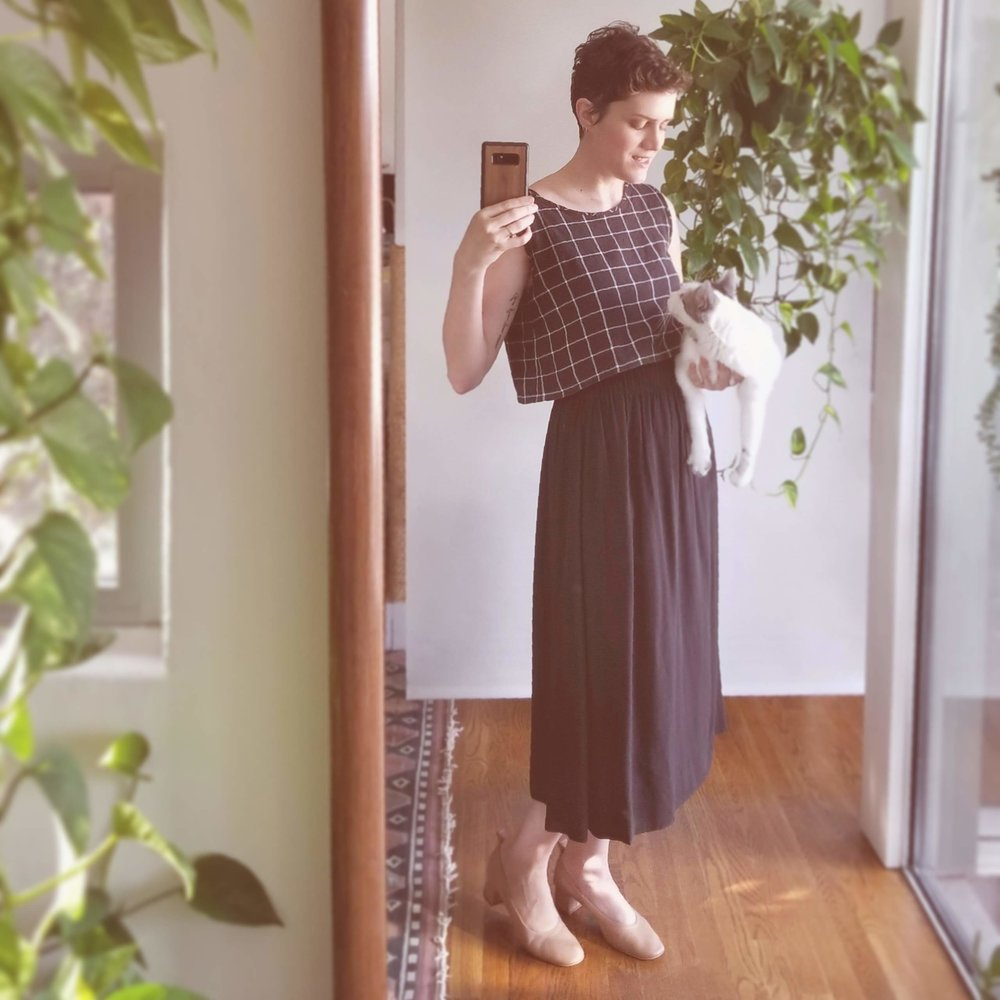 Windowpane top + Elizabeth Suzann bel skirt + Everlane day heels - This is the shirt I sewed the night before vacation earlier this summer (July 2, 2018). Since then it's become a complete closet staple! I've enjoyed pairing it will basically every bottom ever, but not yet with my Elizabeth Suzann bel skirt. The silk skirt was just too damn hot to wear this summer. But if cooler temps ever arrive, I'm excited for the sophisticated but simple look achieved by topping it with the windowpane blouse.