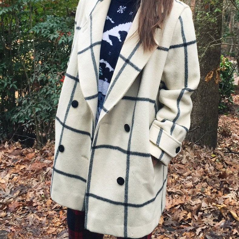 Ivory windowpane coat - $138 / 70% wool, 30% nylon / Ships from USAThis one has me all heart eyes 😍. A little more pea-coat-esque, but that windowpane! The seller notes some moth marks on the wool. Having just gone through a moth infestation — be careful with this! But a trip to the dry cleaners should do the trick for safeguarding against future moths (band name idea: The Future Moths — is that taken yet?).