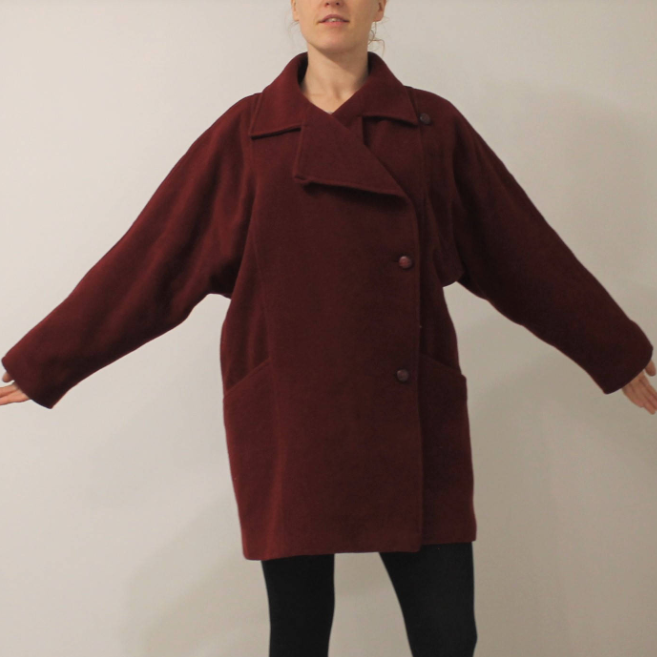 Burgundy raglan coat - $59.50 / 80% wool, 15% polyamide, 5% polyester / Ships from LatviaHonestly this looks more like a cocoon to me than Everlane's version... If I didn't already have a burgundy coat I'd go for this one! I'm a sucker for big dolman sleeves, and this color — so pretty.