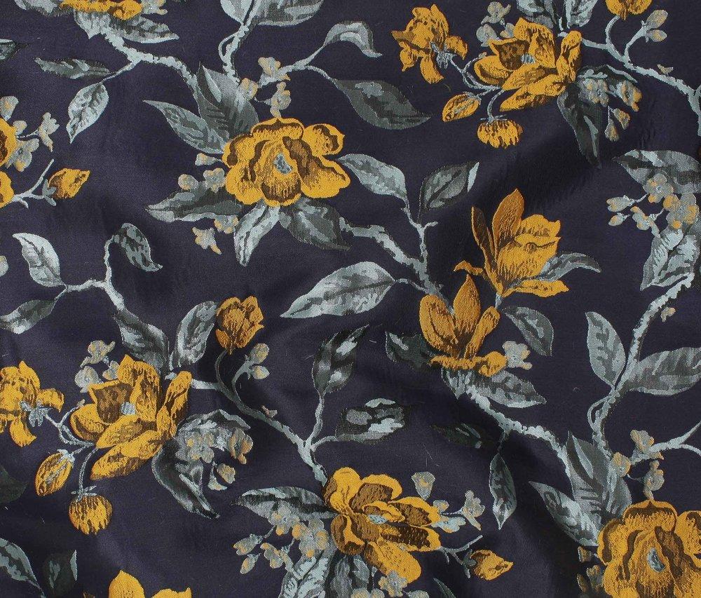 Jacquard - Wild Roses - Gold/Blue