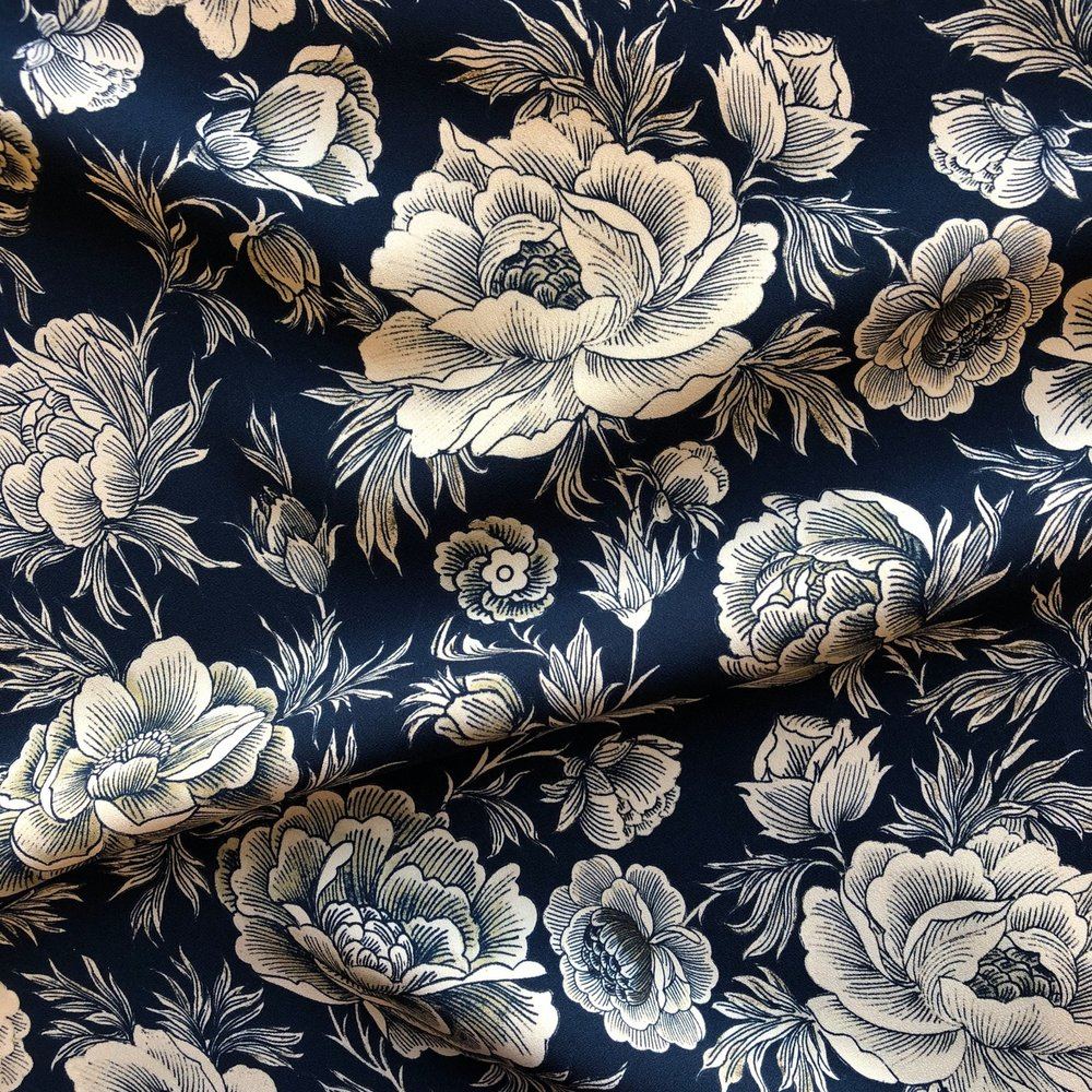 Italian Designer Viscose Crepe - Ornate Floral