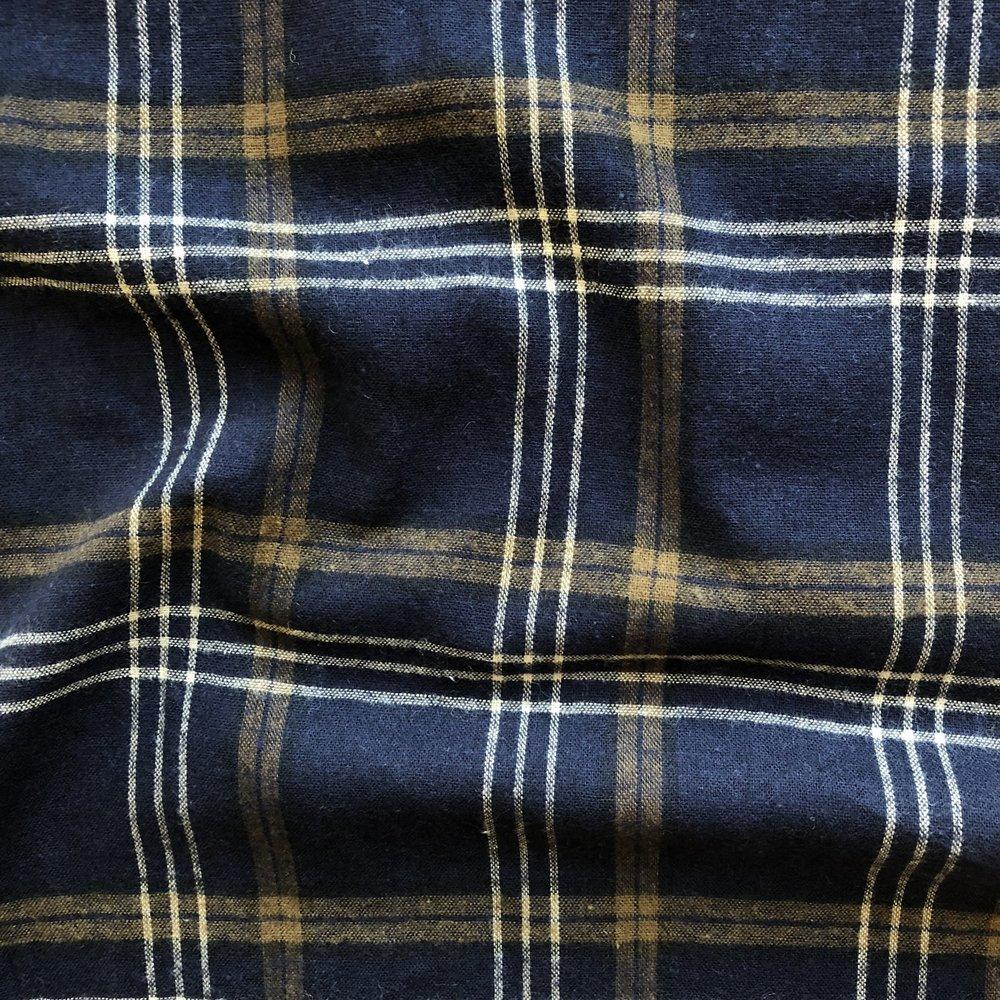 Brushed Cotton/Linen Plaid - Navy