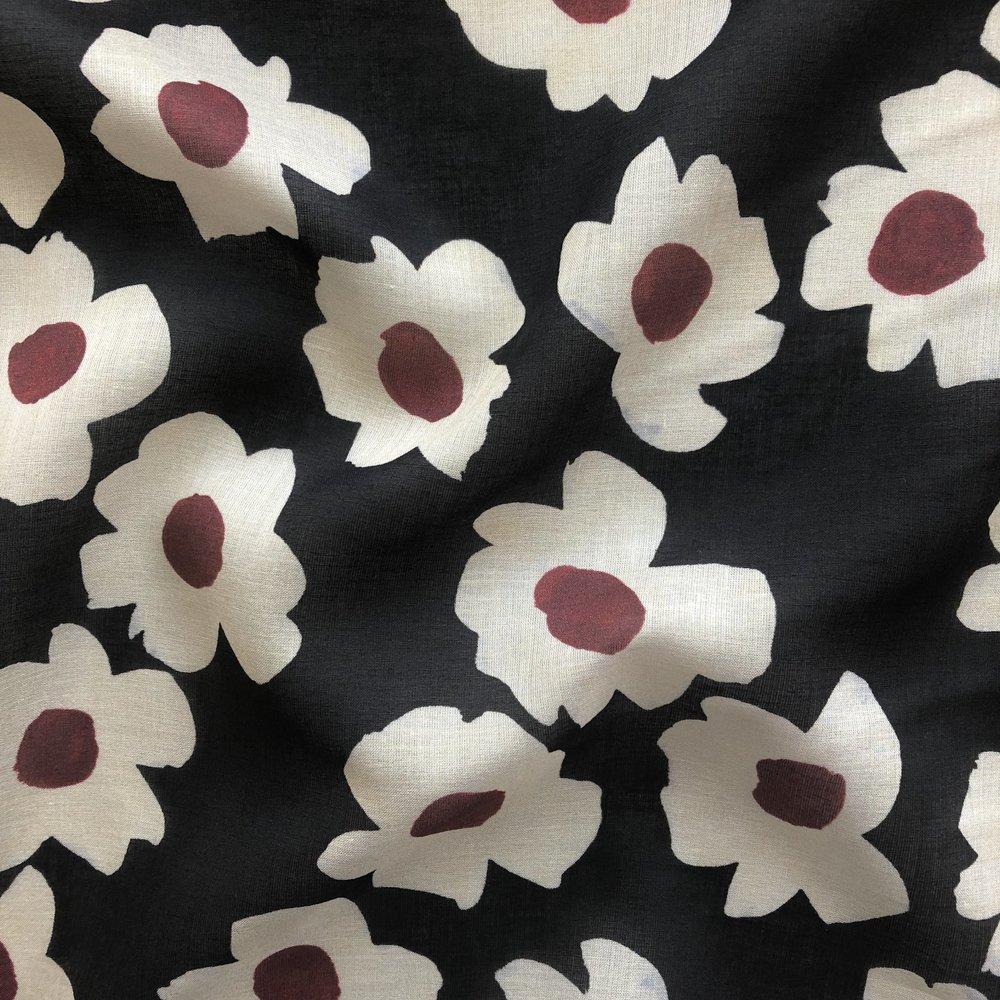 Italian Designer Cotton/Silk Voile - Mod Flowers