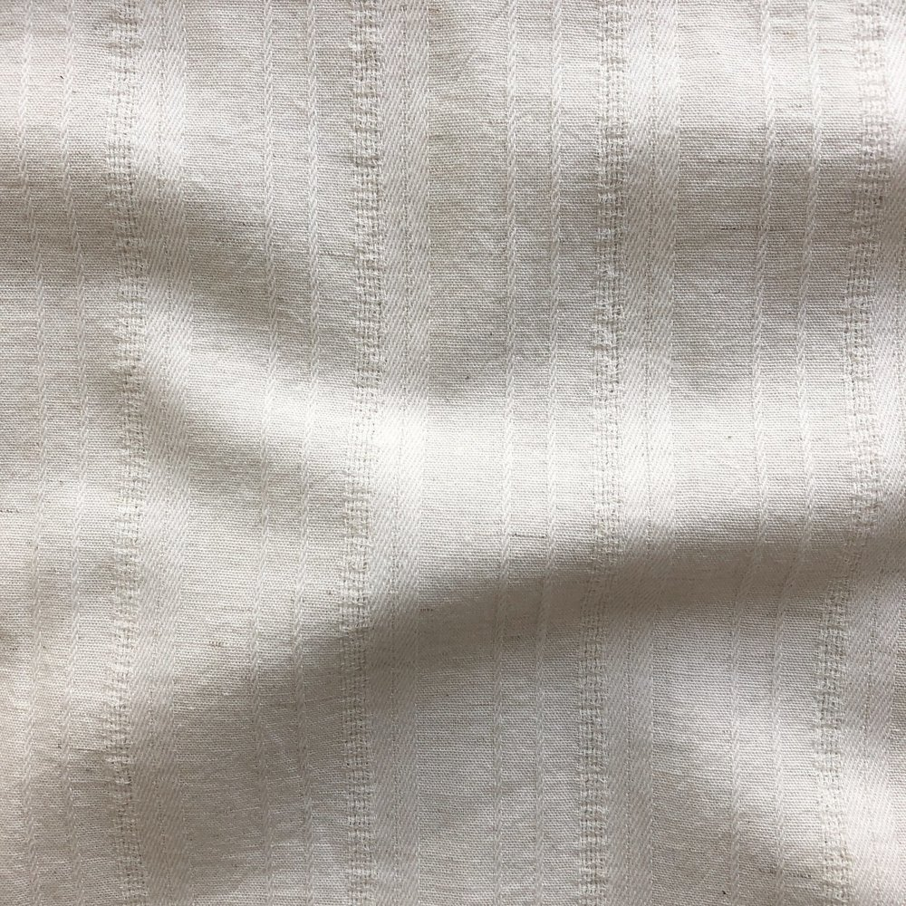 Japanese Yarn Dyed Textured Cotton/Linen - Stripe - Natural