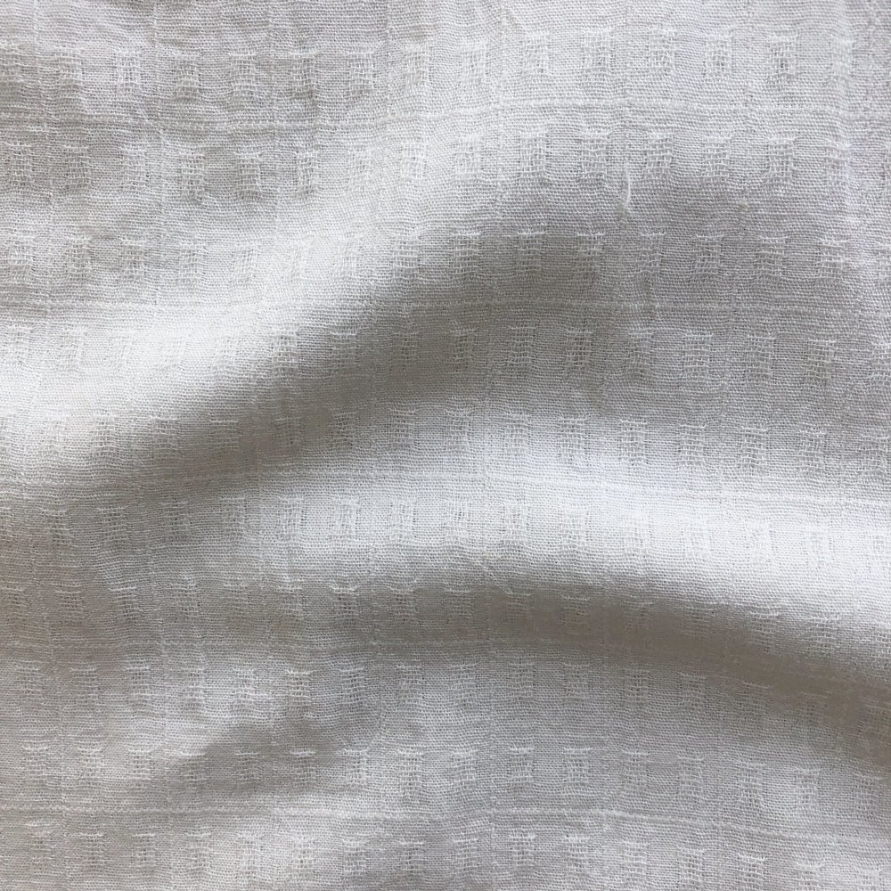 Japanese Yarn Dyed Textured Cotton/Linen - Squares - White