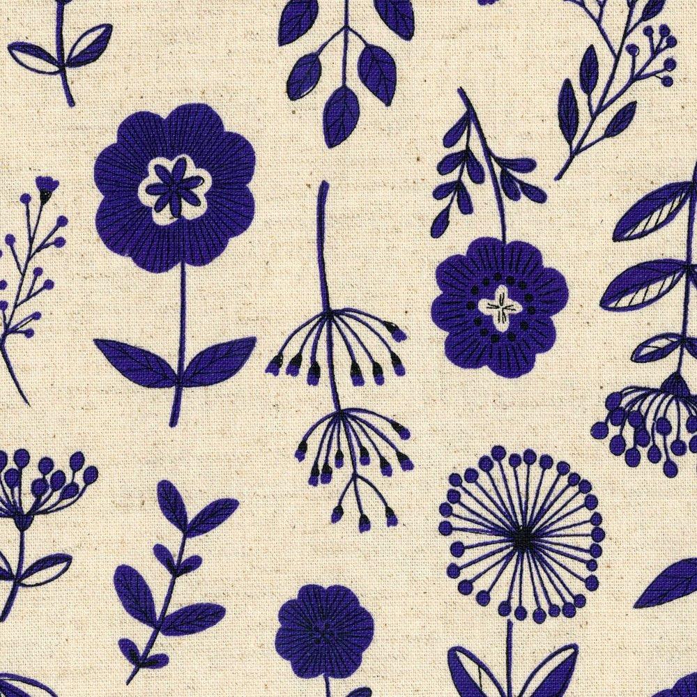 Kokka - Cotton/Linen Canvas - Botany Study - Blue