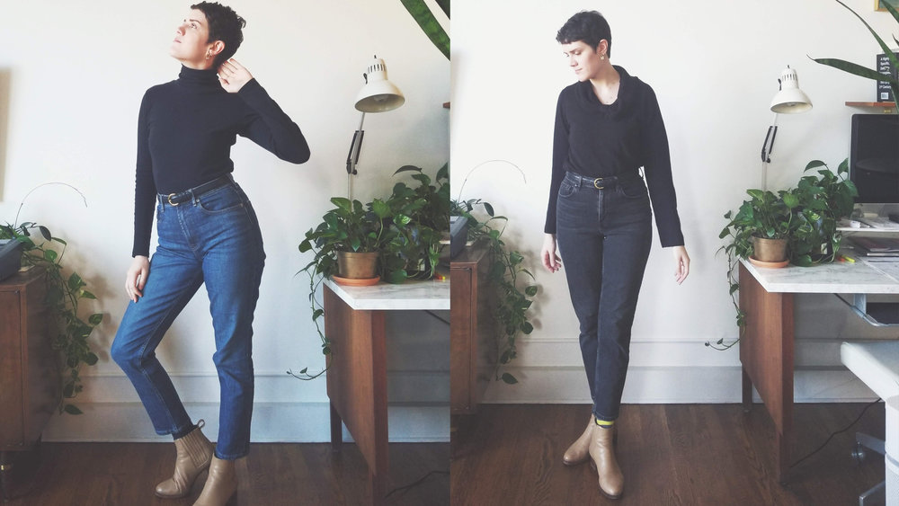 L: yesterday's outfit. R: today's outfit.