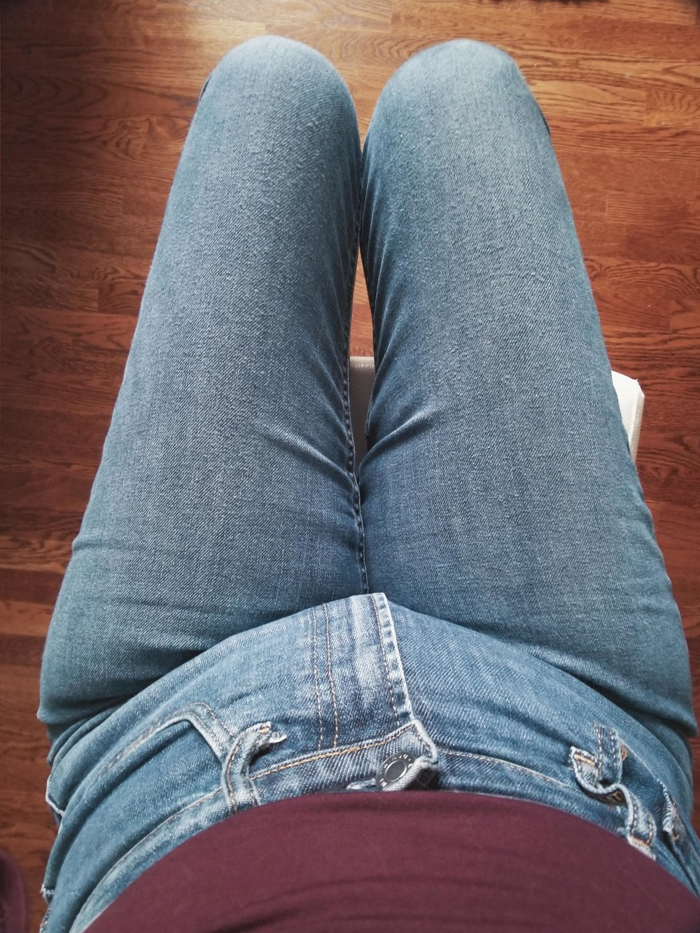 A very unflattering angle but you can see the brushed texture on the thighs.
