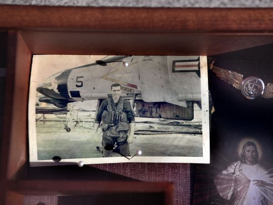 A photo of 1st Lt. William Ryan in front of an F-4 Phantom in Vietnam. Ryan was killed in action on May 11, 1969.  Photo: DANIELLE PARHIZKARAN/northjersey.com