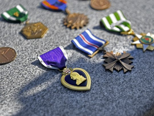 Marine 1st Lt. William Ryan's medals, including the Purple Heart.  Photo: DANIELLE PARHIZKARAN/northjersey.com