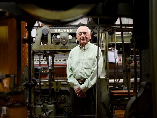 Ed Parseghian has been in the embroidery business since the 1940s, and founded his company, Deerbrook Fabrics of Guttenberg, in 1969. The company once had 80 employees. Now it has four.  Photo: Amy Newman/NorthJersey.com