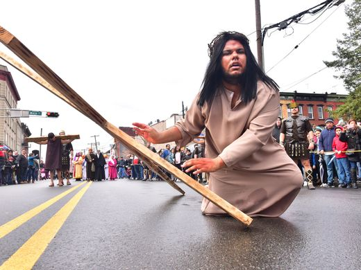 Justin Carrasco, 21, drops the cross in his role of Jesus   Photo: Marko Georgiev/Northjersey.com
