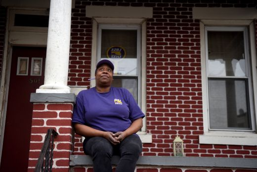 Leslie Hall on her front porch.  Photo: Amy Newman/Northjersey.com