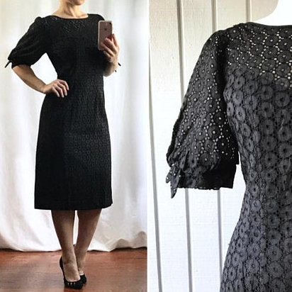 50s Cotton Eyelet Dress | $72