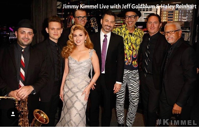 Jimmy Kimmel, Jeff Goldblum, Haley Reinhart, Mildred Snitzer Orchestra