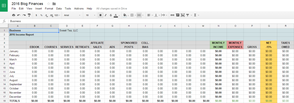 tracking blog income expenses with free spreadsheet template