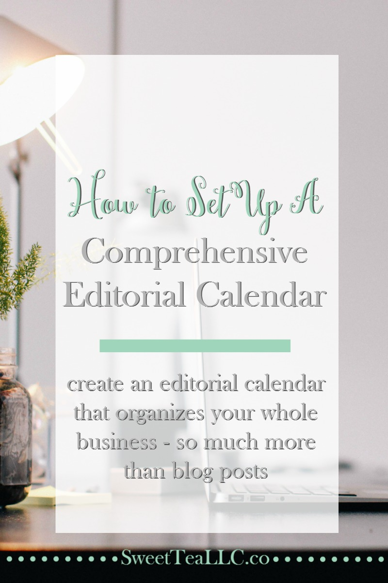 Bloggers do more than just write blog posts, so shouldn't your editorial calendar handle more, too? Learn tips for setting up a comprehensive editorial calendar to organize your whole business.