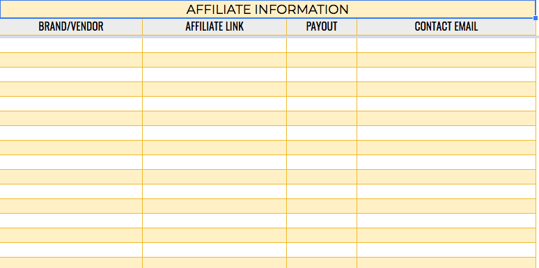 Keep a handy list of affiliate links and the payouts.