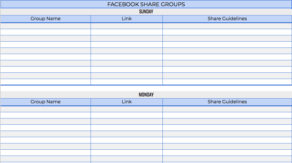 Track Facebook share groups and the guidelines for each one.