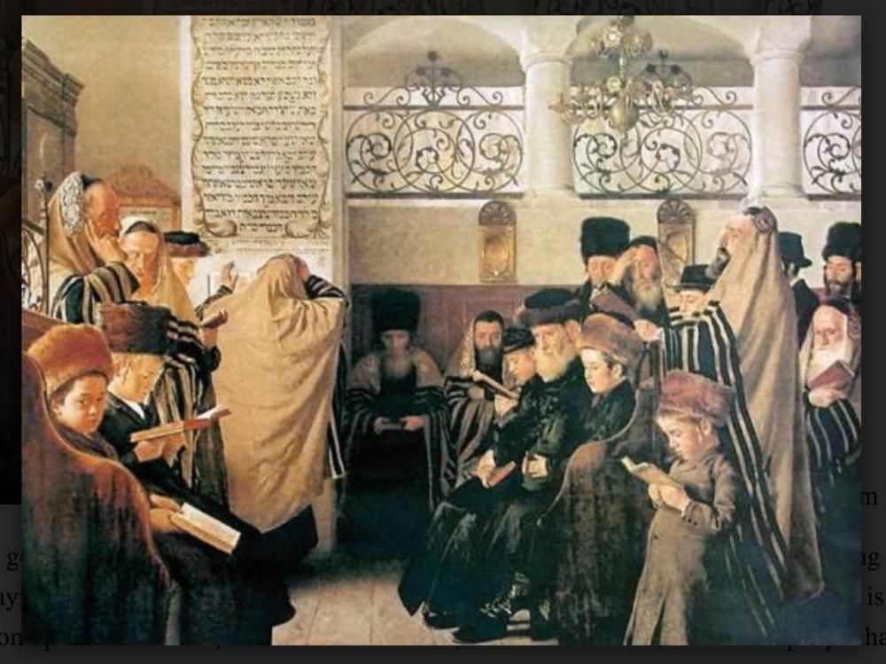 Iom Kippur por Isidor Kaufmann (antes de 1907). En esta foto de archivo del domingo 14 de marzo de 2010, un judío ultraortodoxo escribe algunas de las últimas palabras en un rollo de la Torá antes de que sea llevado del Muro Occidental a la sinagoga de Hurva en Dan Balilty de Jerusalén, AP.
