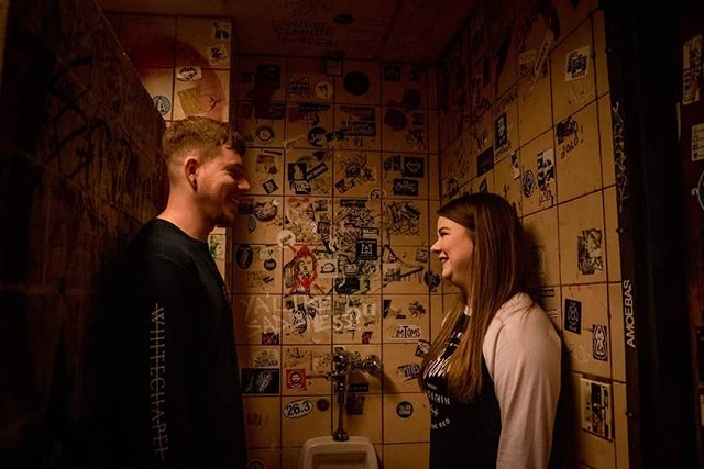 There are VERY few people you can ask to stand in a urinal. For their engagement photos. BUT I FOUND THEM. AND I LOVE THEM. . . I can't wait to share the rest of these photos and my creepy love for these two, but for now, bask in their badass, definitely one of a kind engagement photos.