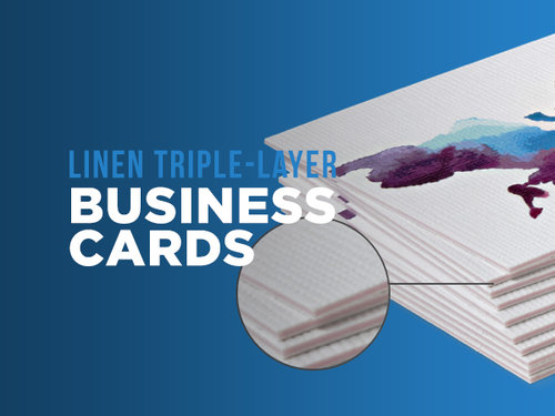 linen triple layer business cards - Linen Business Cards