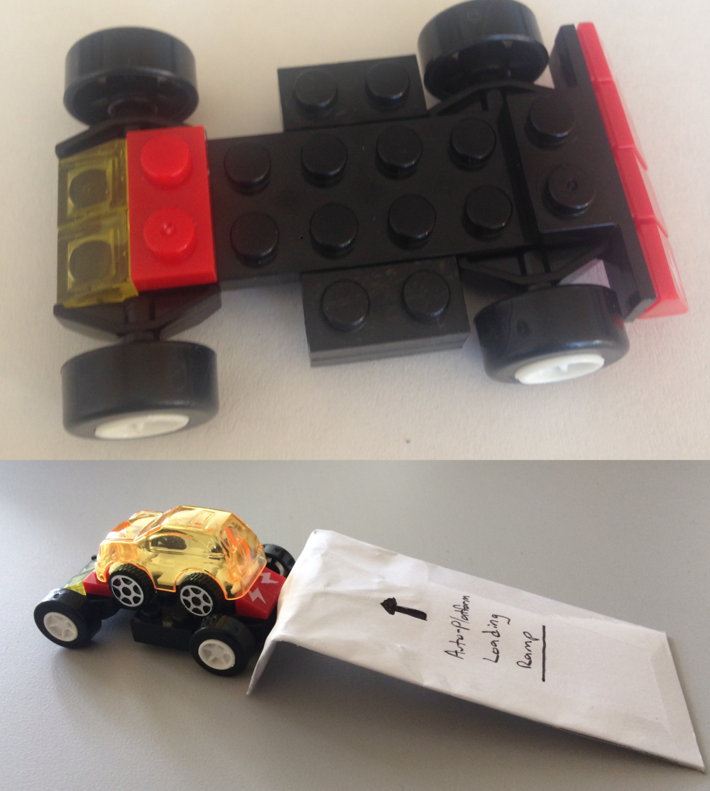 Conceptual Lego Model - We started with a small Lego platform and toy cars, a simple way of tangibly demonstrating the basic concept without diving into details. This allowed us to illustrate our idea to potential users early on in the process, framing open discussions about potential use cases and other feedback.