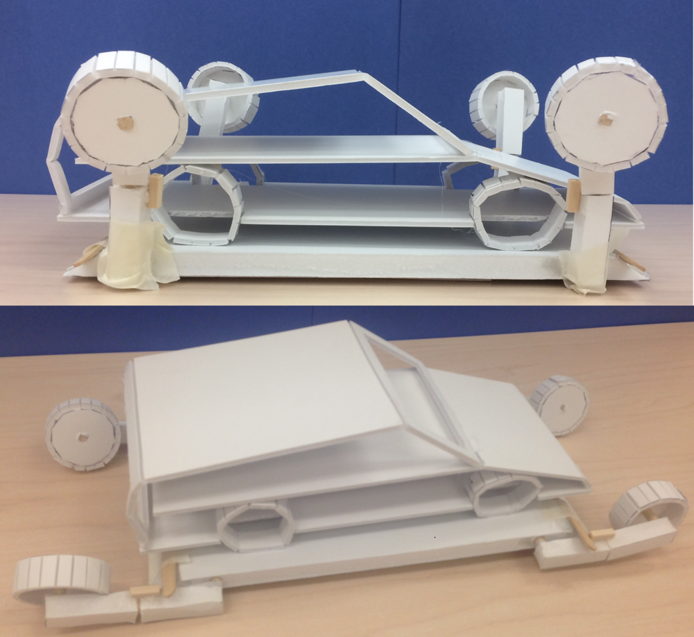 Foamcore 2 - These prototypes were key as we conducted more user interviews; they helped us gather feedback on aspects like safety concerns, the volume footprint, and the design's complexity. We incorporated this feedback in our second iteration.