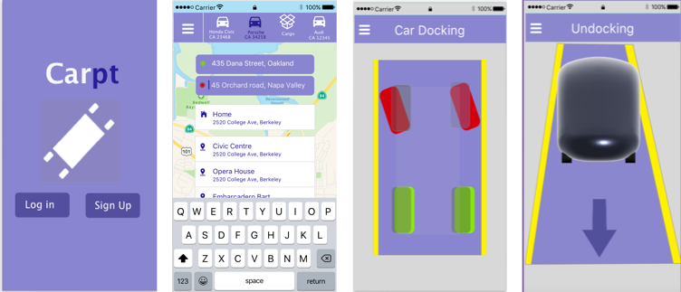 Sketch prototype 2 - Throughout this process, user interviews and testing helped us iterate on the app's features — we added functionality around where the Carpt would wait for a user, how the app would help guide a user in docking their car, and how the user could customize their Carpt to display a message that would uniquely identify it when it picked up a user.