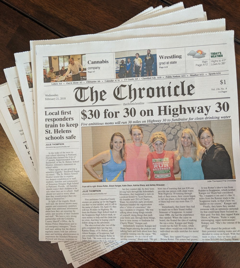 The Chronicle News Article - February 21, 2018 our local newspaper ran a front-page article about the run and our fundraising for charity: water! Check it out here.