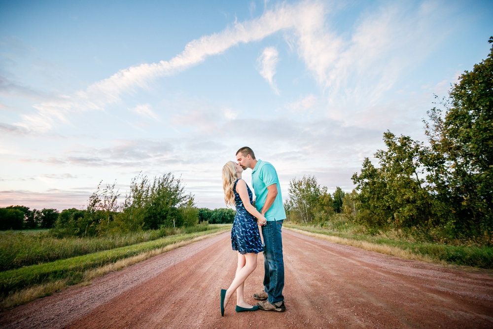 Engagement Photo Blue Sky Dirt Road Country Wedding
